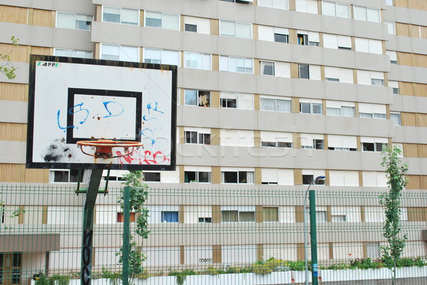 Boisko do koszykówki społecznej sąsiedztwo ubogich miejskich tekstury Zdjęcia stock © luissantos84