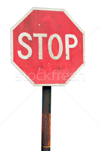 Stopteken roestige metaal paal geïsoleerd witte Stockfoto © luissantos84