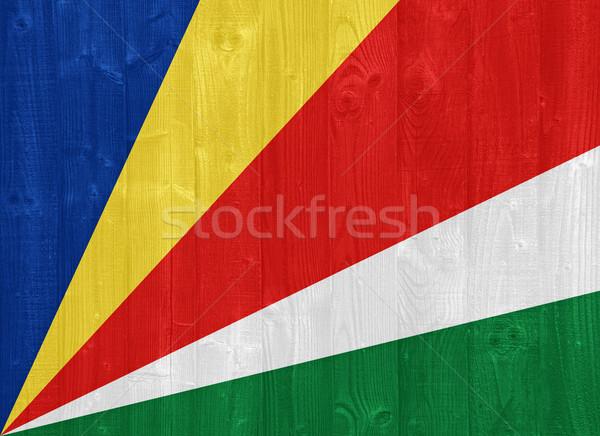 Сейшельские острова флаг великолепный окрашенный древесины доска Сток-фото © luissantos84