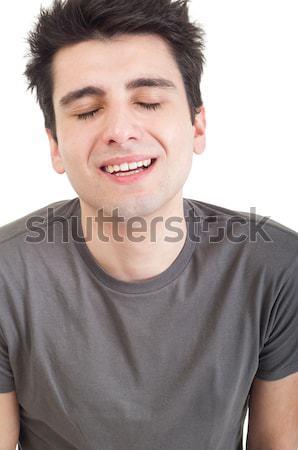 Deprimido hombre triste joven llorando Foto Foto stock © luissantos84