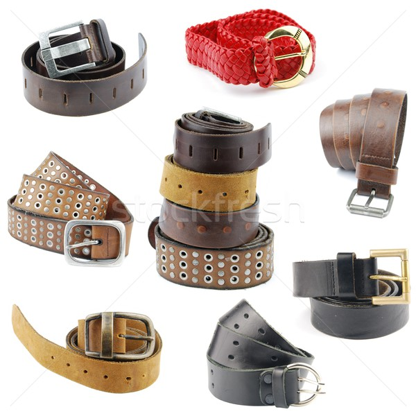 Collection of leather belts on white Stock photo © luissantos84