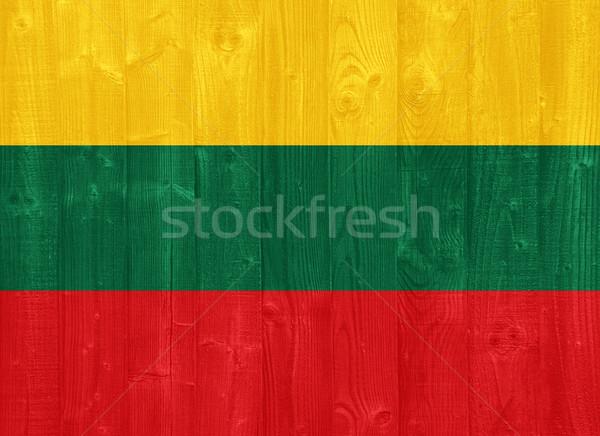 Litvánia zászló káprázatos festett fa palánk Stock fotó © luissantos84