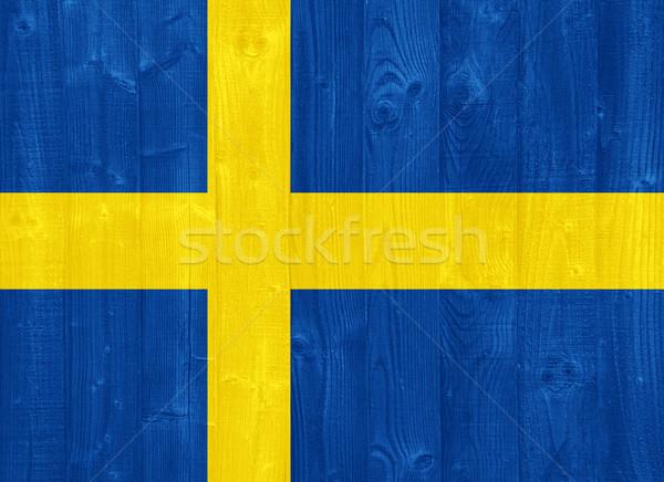 Zweden vlag prachtig geschilderd hout plank Stockfoto © luissantos84
