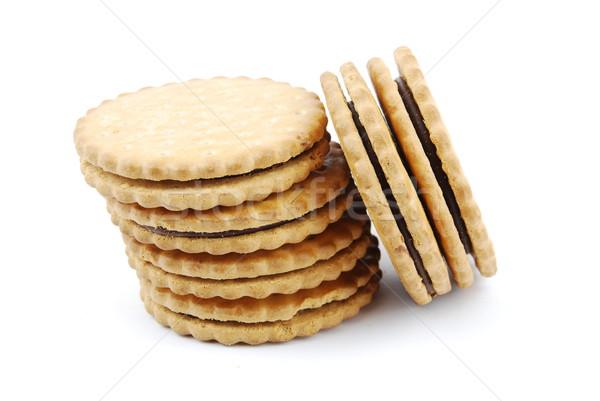 Cioccolato cookies bianco isolato sfondo Foto d'archivio © luissantos84
