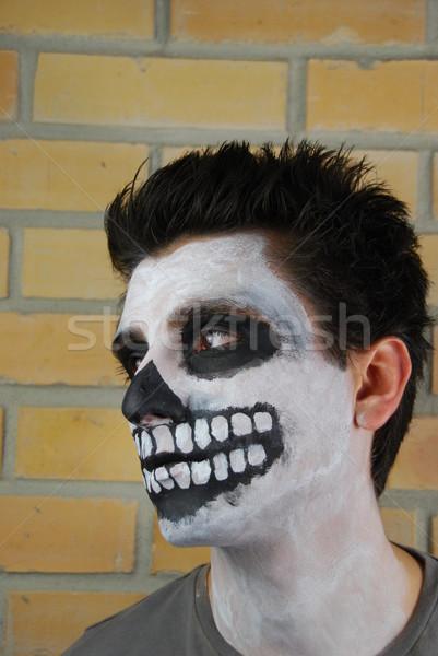 Portre ürpertici iskelet adam karnaval yüz Stok fotoğraf © luissantos84