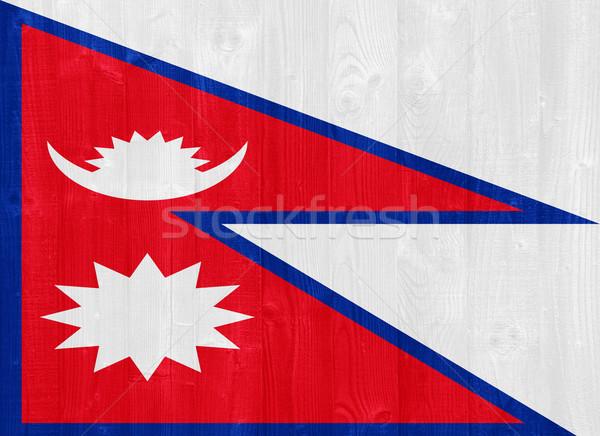 Непал флаг великолепный окрашенный древесины доска Сток-фото © luissantos84