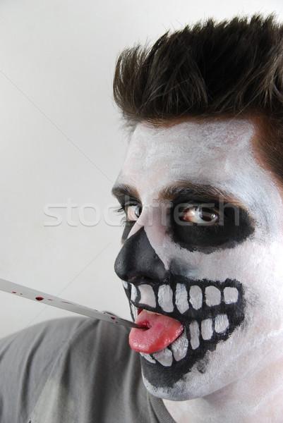 Morderca szkielet facet krwawy nóż portret Zdjęcia stock © luissantos84