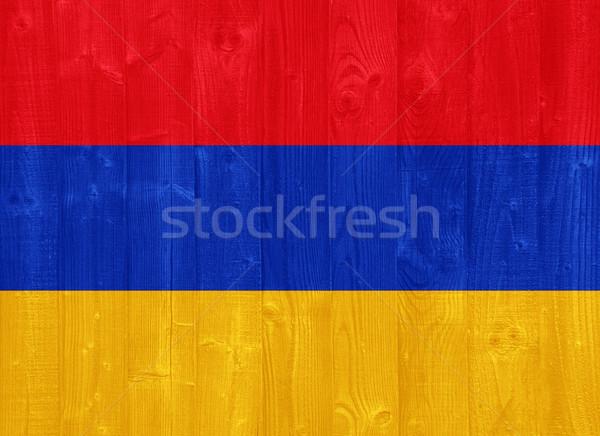 アルメニア フラグ ゴージャス 描いた 木材 ストックフォト © luissantos84