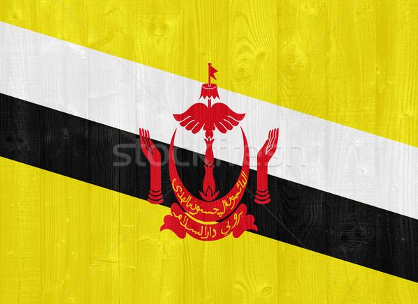 Brunei vlag prachtig geschilderd hout plank Stockfoto © luissantos84