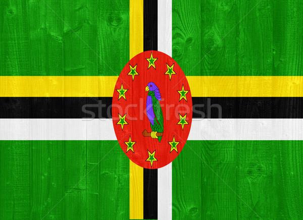 Доминика флаг великолепный окрашенный древесины доска Сток-фото © luissantos84