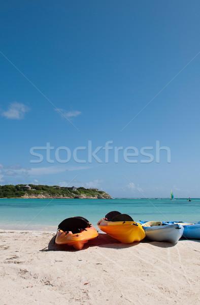 Spiaggia colorato bianco spiaggia di sabbia lungo cielo blu Foto d'archivio © luissantos84