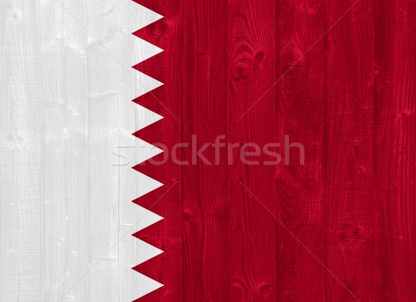 Catar bandeira pintado madeira Foto stock © luissantos84