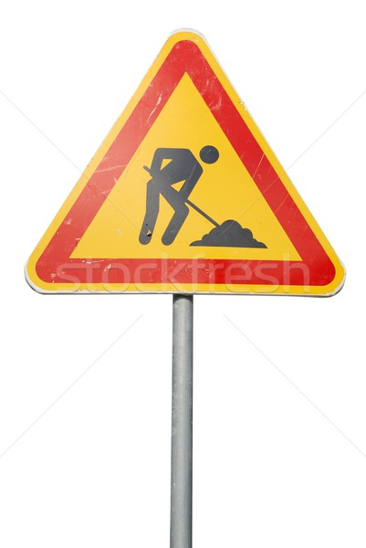 строительство дорожный знак знак изолированный белый дороги Сток-фото © luissantos84