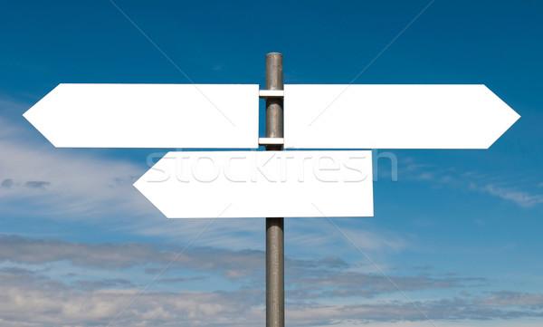 Segno vuota cielo blu isolato bianco strada Foto d'archivio © luissantos84