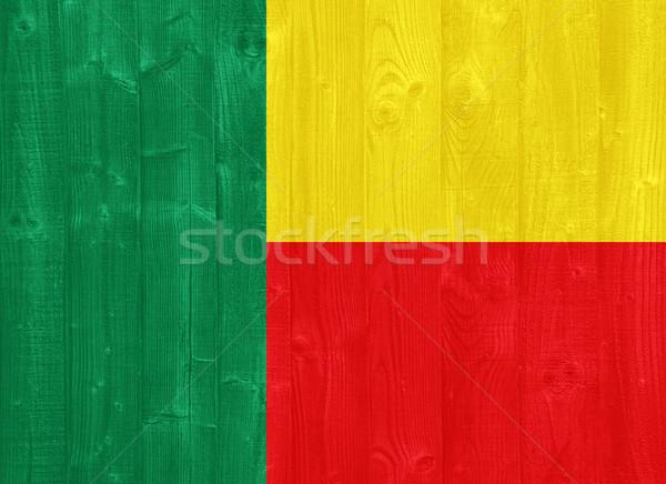 Бенин флаг великолепный окрашенный древесины доска Сток-фото © luissantos84