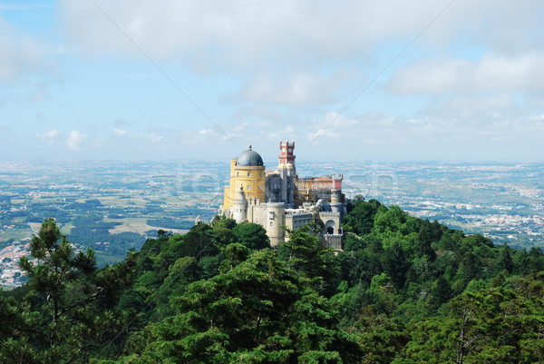 Colorful Palace of Pena landscape view in Sintra, Portugal. Stock photo © luissantos84