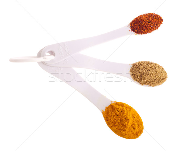 Indian spices in spoons Stock photo © luissantos84