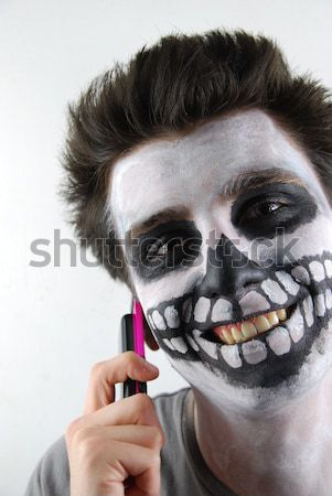 Murderer skeleton guy with a bloody knife Stock photo © luissantos84