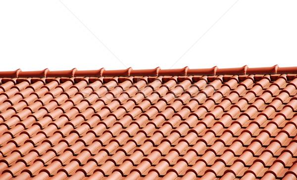 крыши плитки оранжевый дома изолированный белый Сток-фото © luissantos84