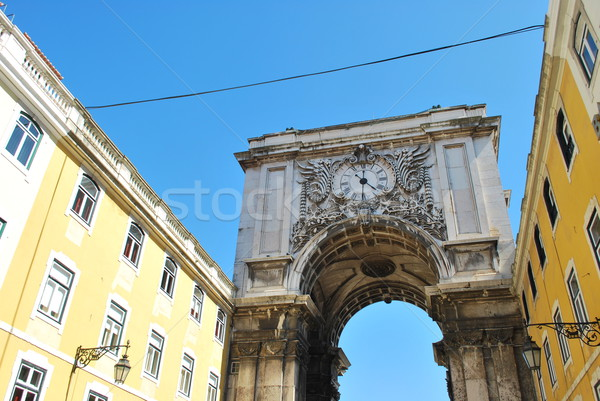 Arch crossing from Augusta street to Commerce square in Lisbon Stock photo © luissantos84