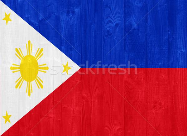 Fülöp-szigetek zászló káprázatos festett fa palánk Stock fotó © luissantos84
