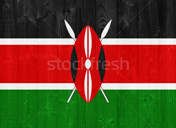 ケニア フラグ ゴージャス 描いた 木材 ストックフォト © luissantos84