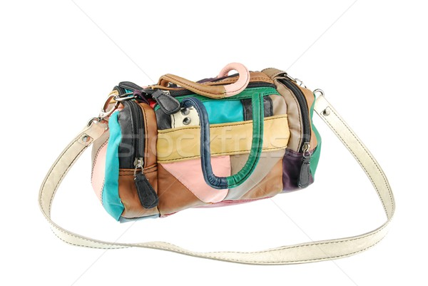 Colorful teenager leather bag on white Stock photo © luissantos84