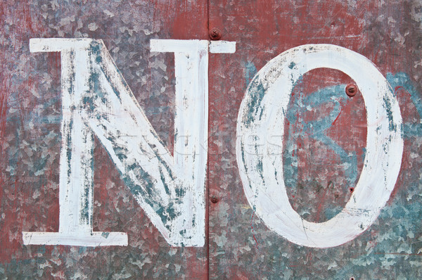 vintage word NO on a rusty red metallic surface Stock photo © luissantos84