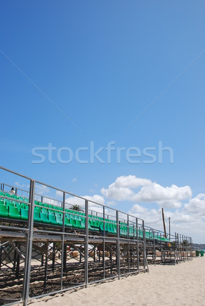 Stock photo: Stadium green bleachers