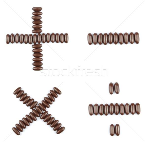Csokoládé számtan gyönyörű gyűjtemény szorzás kivonás Stock fotó © luissantos84
