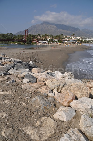Puerto Banus beach and bridge Stock photo © luissantos84