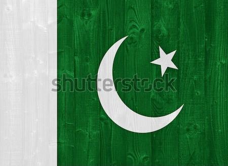Pakisztán zászló káprázatos festett fa palánk Stock fotó © luissantos84