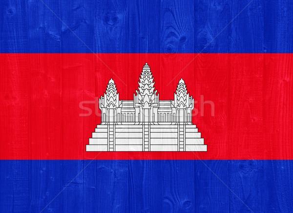 Cambodja vlag prachtig geschilderd hout plank Stockfoto © luissantos84