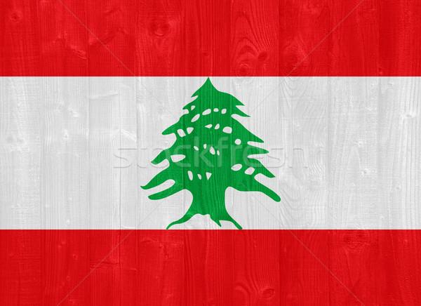 Libanon vlag prachtig geschilderd hout plank Stockfoto © luissantos84