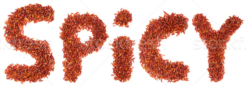 Spicy written with chilli peppers Stock photo © luissantos84