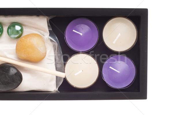 Photo stock: Spa · bougies · pierres · sable · noir