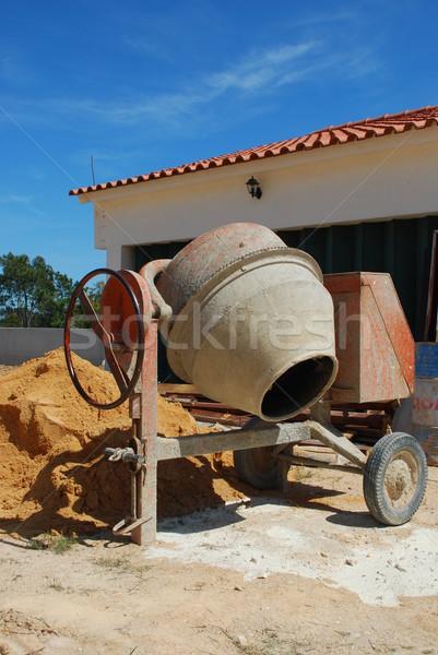 Cemento mezclador naranja cielo trabajo Foto stock © luissantos84