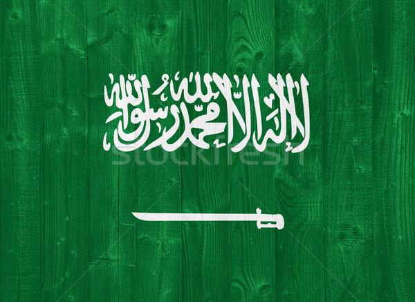 Szaúd-Arábia zászló káprázatos festett fa palánk Stock fotó © luissantos84