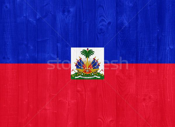 Haiti bayrak boyalı ahşap Stok fotoğraf © luissantos84