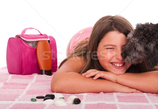 девушки купальник пляж собака улыбаясь брюнетка Сток-фото © luissantos84