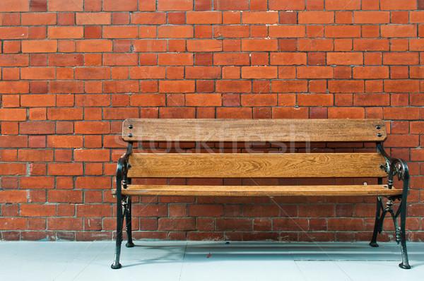 Stockfoto: Houten · bank · trottoir · scène · muur · hout