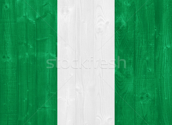 Nijerya bayrak boyalı ahşap Stok fotoğraf © luissantos84
