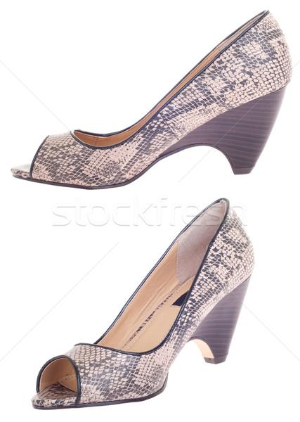 Stok fotoğraf: Kadın · yüksek · topuklu · moda · ayakkabı · yalıtılmış · beyaz
