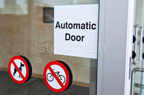 автоматический двери знак вход собаки Сток-фото © luissantos84