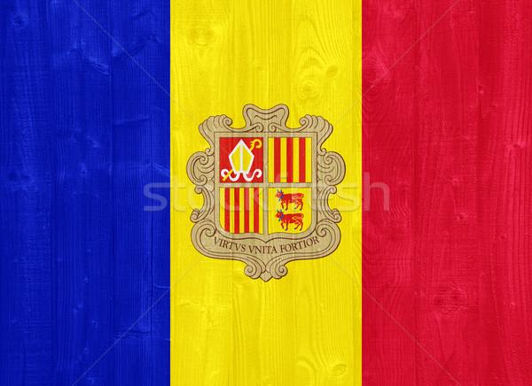 Andorra Flagge herrlich gemalt Holz Planke Stock foto © luissantos84