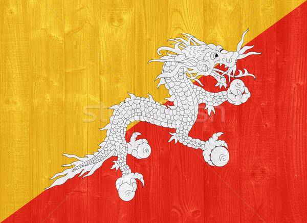 Бутан флаг великолепный окрашенный древесины доска Сток-фото © luissantos84