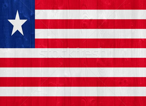 Liberia bandiera magnifico verniciato legno Foto d'archivio © luissantos84