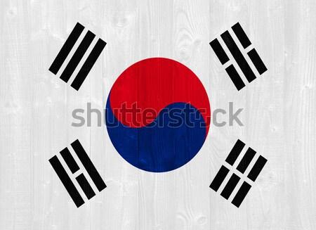 Güney Kore bayrak boyalı ahşap Stok fotoğraf © luissantos84