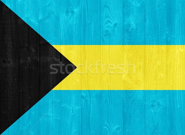 Bahamas Flagge herrlich gemalt Holz Planke Stock foto © luissantos84