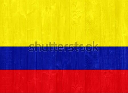 Colombia zászló káprázatos festett fa palánk Stock fotó © luissantos84